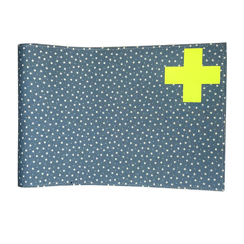 Health Book Cover - Blue stars & Neon yellow cross
