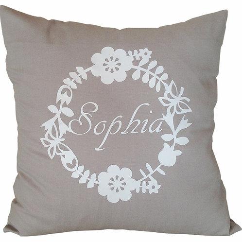 Personalised FLOWERS WREATH Cushion