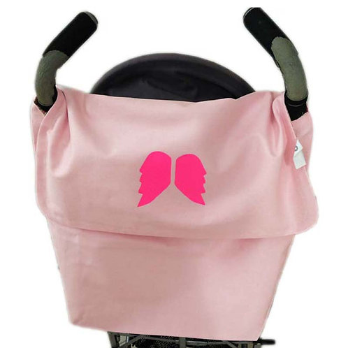 Light Pink STROLLER BAG with Neon Pink Angel Wings