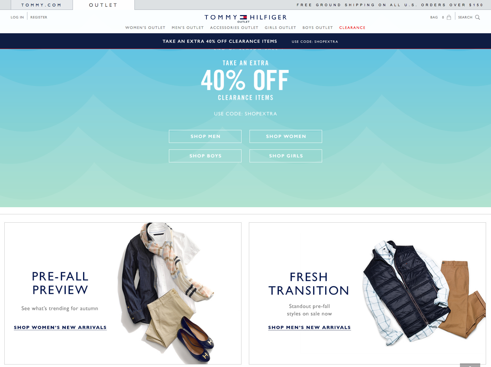Outlet Landing Page