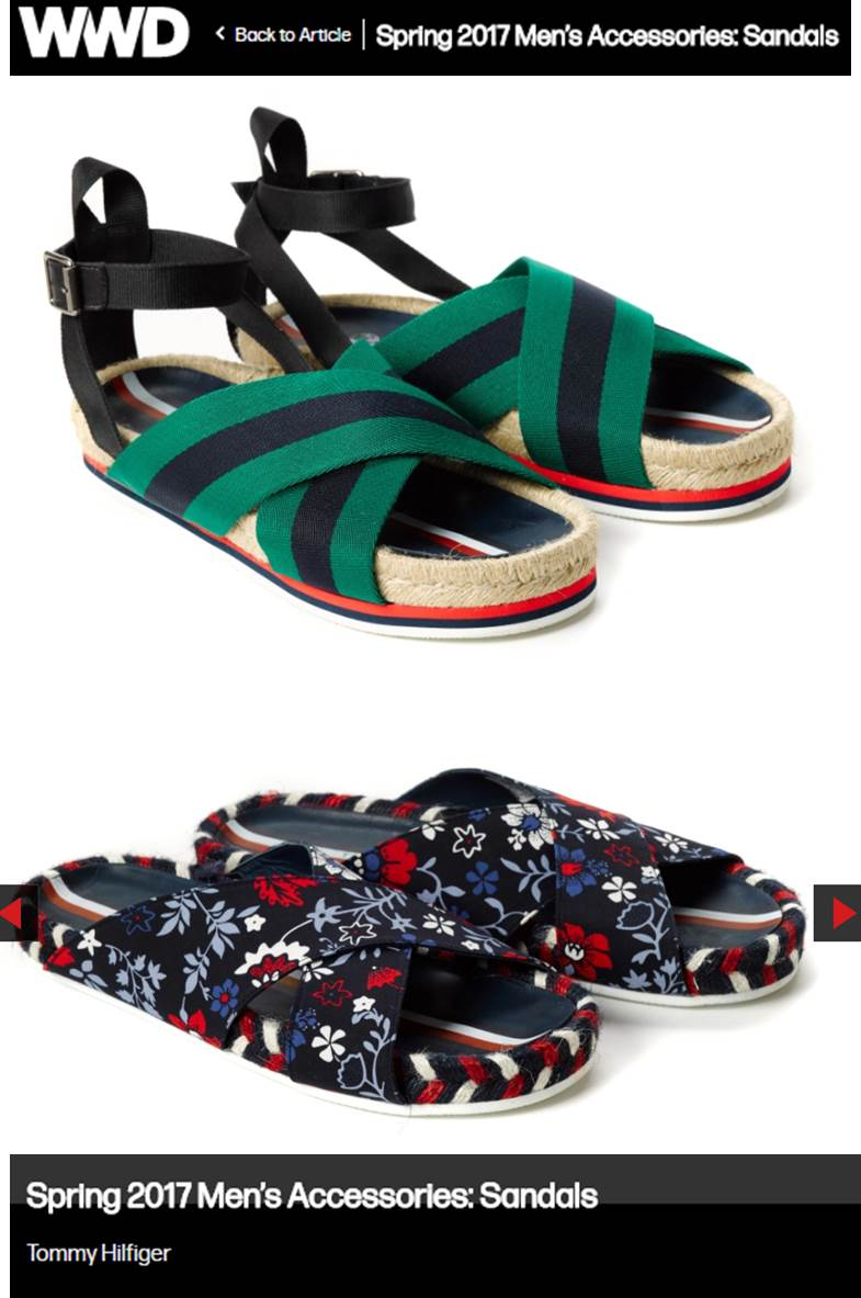 WWD - 10.5.2016 - Hilfiger Edition SP17 Sandals