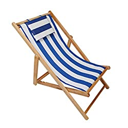 Adjustable Sling Chair, Wood Beach Chair with Headrest,Outdoor Portable Patio Folding Chair,Natural Frame, Stripe Waterproof Canvas