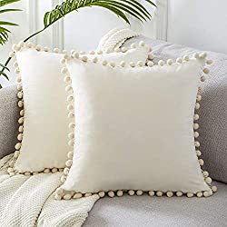 Top Finel Accent Decorative Throw Pillow Covers Soft Velvet Outdoor Cushion Covers 18 X 18 with Pom Poms for Couch Sofa Bed, Set of 2, Cream