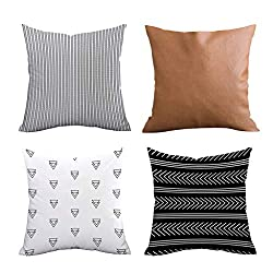 Set of 4 Top Decorative Throw Pillow Covers Geometric Outdoor Cushion Covers 18 X 18 Inch for Couch Bedroom by Fulijie