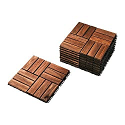IKEA Outdoor Deck and Patio Interlocking Flooring Tiles (Brown-Stained)