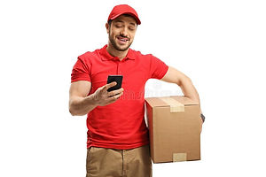 delivery-guy-holding-box-looking-mobile-