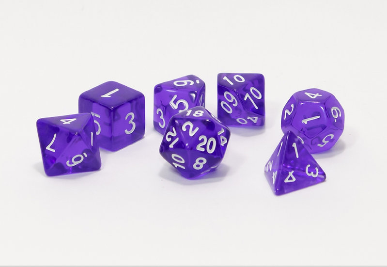 7 Piece Translucent Acrylic Dice Set