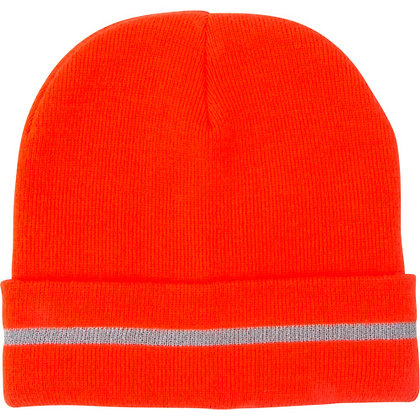 HIGH VISBILITY ORANGE HAT WITH REFLECTIVE STRIPE