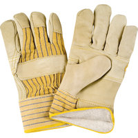 Grain Cowhide Fitters Cotton Fleece-Lined Patch Palm Gloves - Size Large