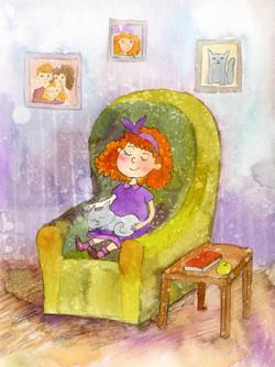 Matilda sleeping in chair_