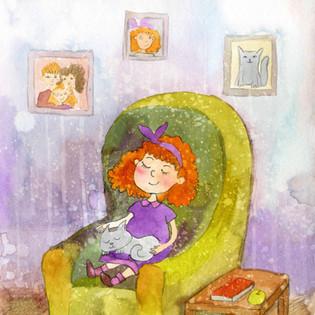 Matilda sleeping in chair