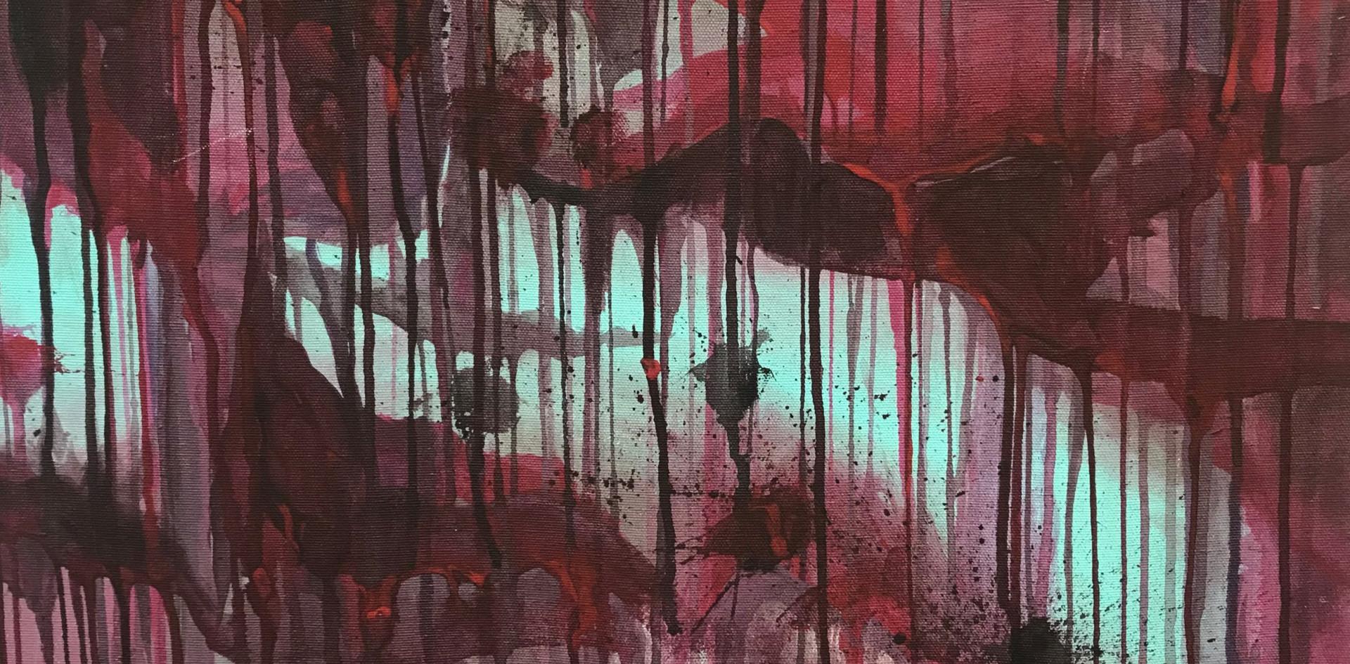"""""""Abstract Four"""". 2019. Acrylic on Canvas. 8"""" X 12""""."""