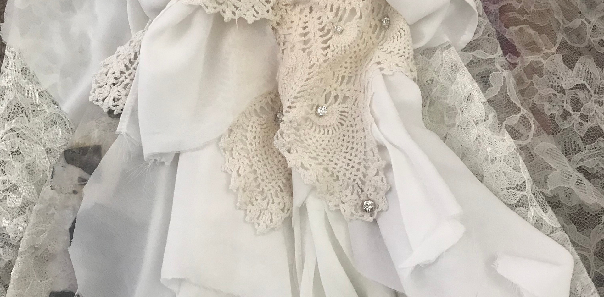 """Detail of Veil"". 2020. Cotton, Lace, Thread, and Jewels."