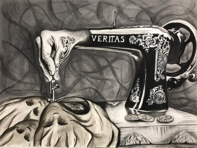 """Veritas"" 2016. Charcoal on Paper. 24"" X 36""."