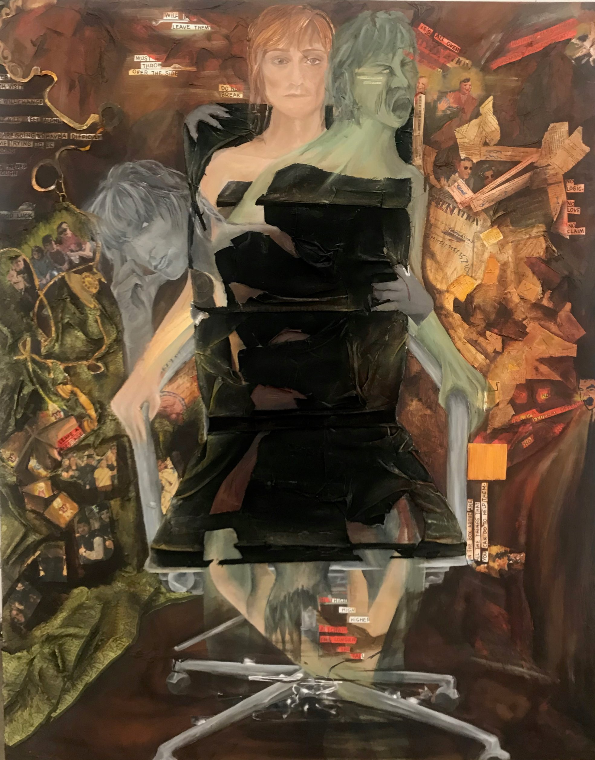 """My Work is My Life."" 2019. Oil on Canvas, Matte Medium, Paper, Cloth, and Tissue Paper. 48"" X 60""."