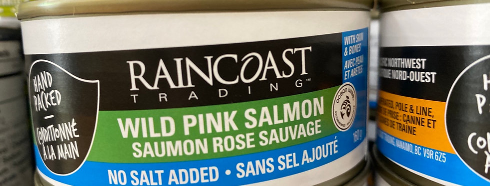 Wild Pink Salmon (BC) -with skin and bones, no salt added