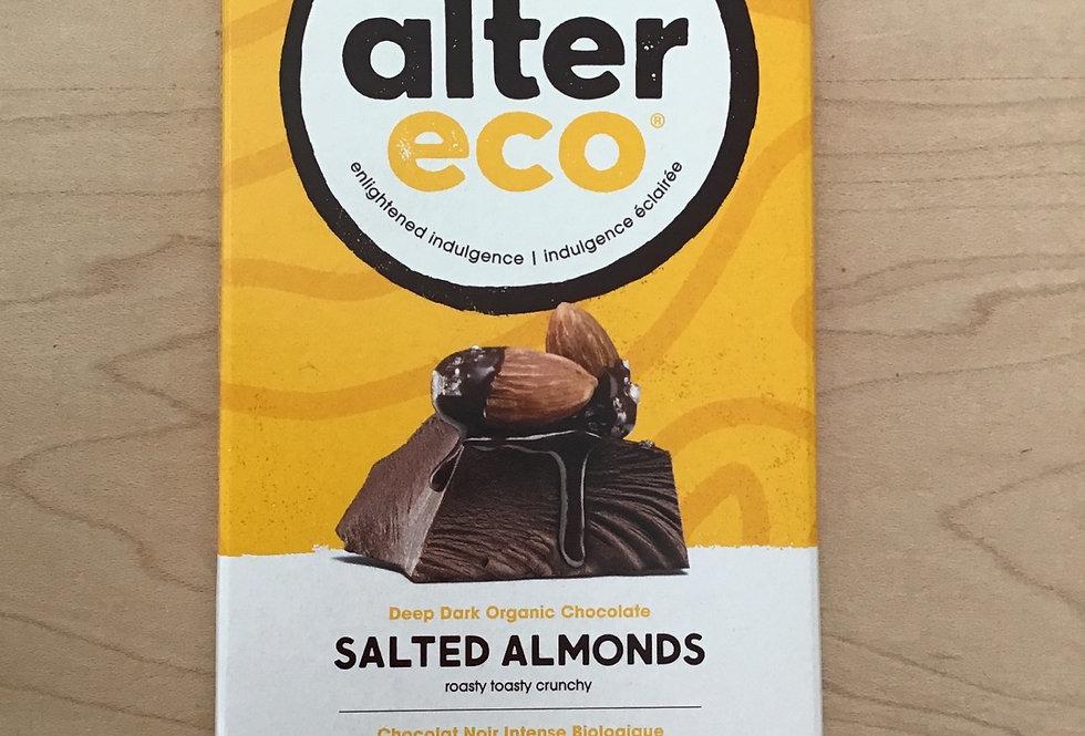 alter eco salted almonds 70% organic fairtrade cacao 80g chocolate bar
