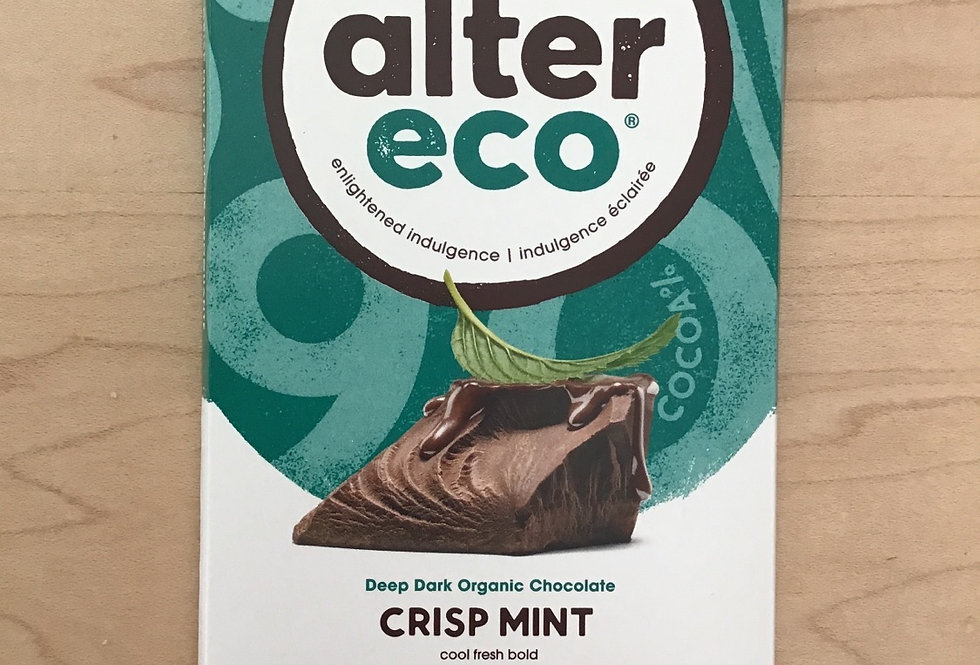 alter eco crisp mint 90% organic cacao, fairtrade 75g chocolate bar