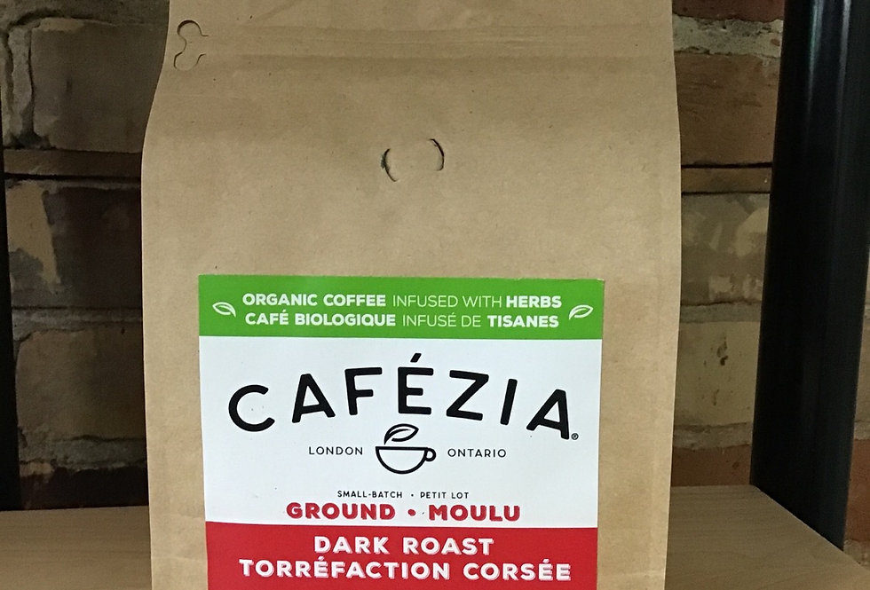 Cafezia , Coffee Infused with Herbs, ground - 340g dark roast