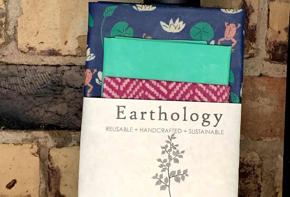 Earthology Beeswax Food Wrap made with Organic Cotton (3 Pack)