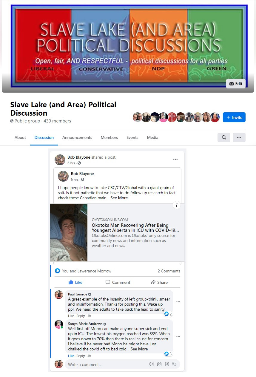 Slave Lake local community of Facebook members create a space for civil political discussion.