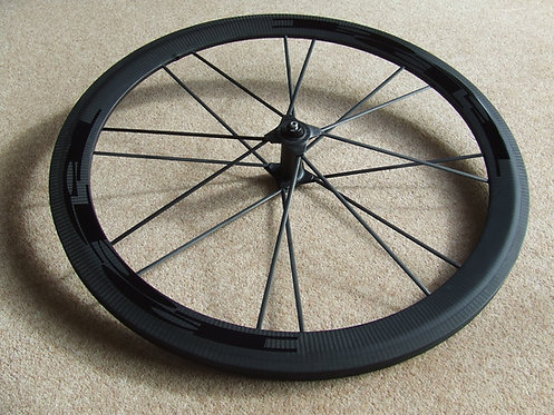 PDQ super-light spoked front wheel - black logos