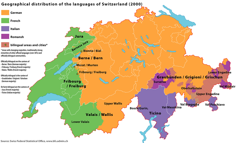 Switzerland language map