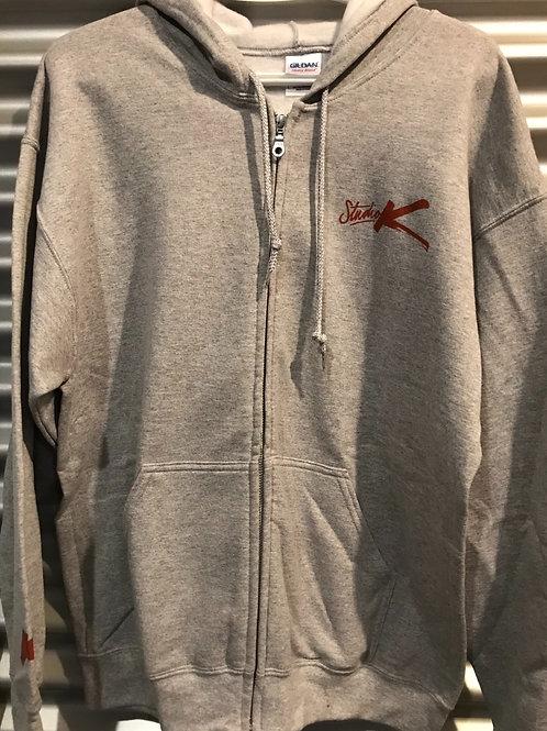 Cagoule avec zip adulte grise pâle