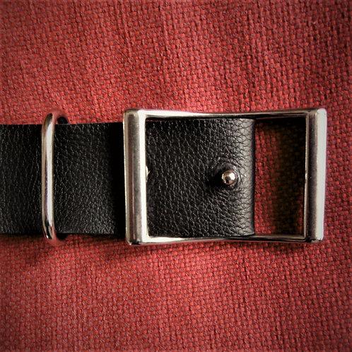 CEINTURE (GM) en cuir de taurillon NOIR avec boucle originale