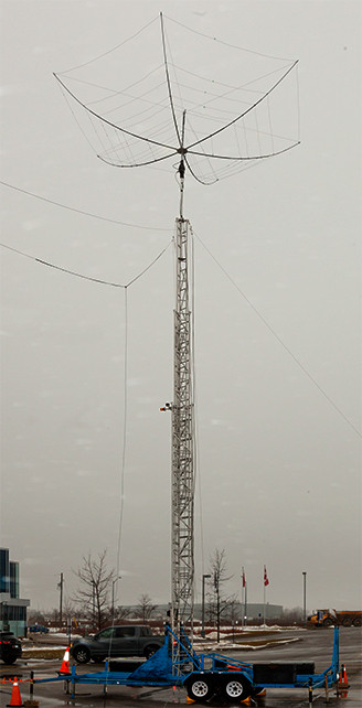HEX Beam in place on the tower and raised alongside dipoles.