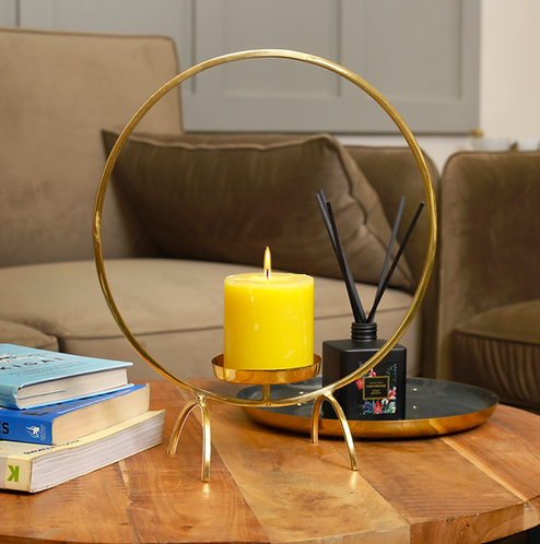 Rond Messing Deco Candle Holder