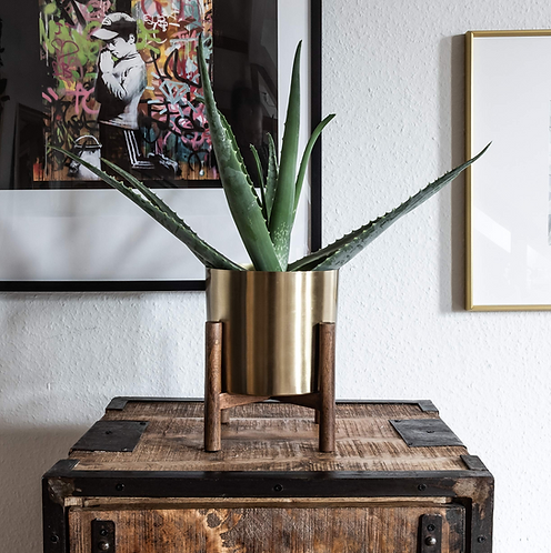 Goud hout Planter Stand