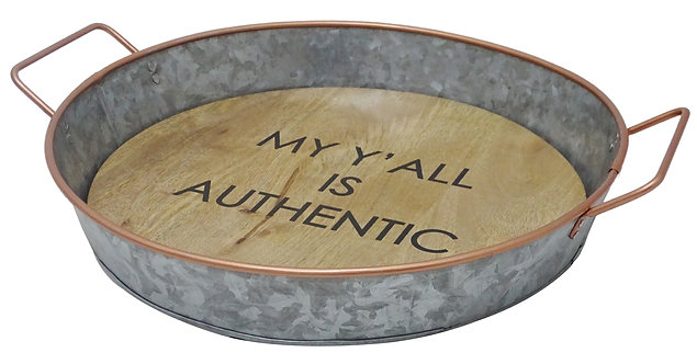Galvanized Round Metal and Wood Tray