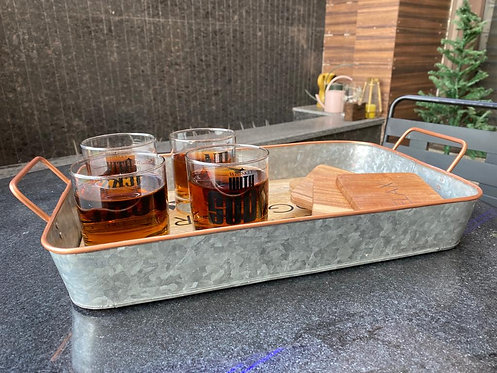 Galvanized and Wooden Serving Tray with Metal Handle