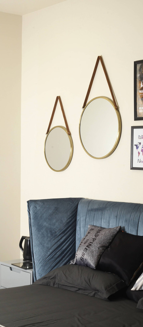 Marston Round Metal Frame Hanging Mirrors with Faux Leather Straps