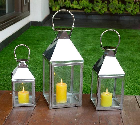Chrome Windproof Lanterns Set of 3