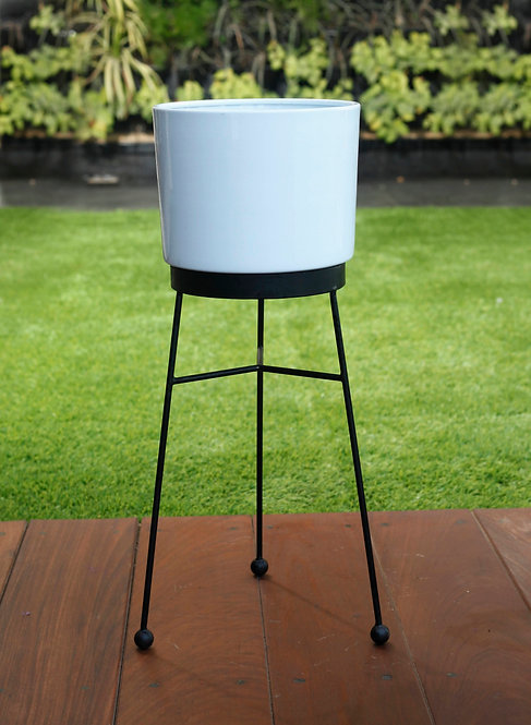 Iron Drum Planters with Stands