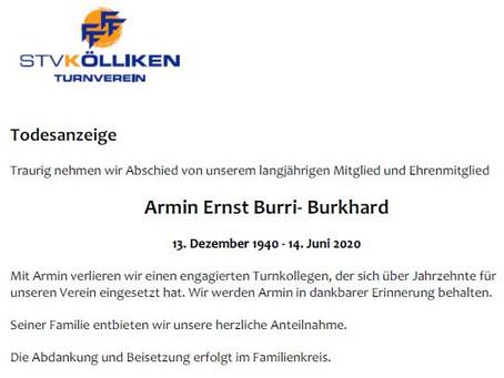 Todesanzeige Armin Ernst Burri-Burkhard