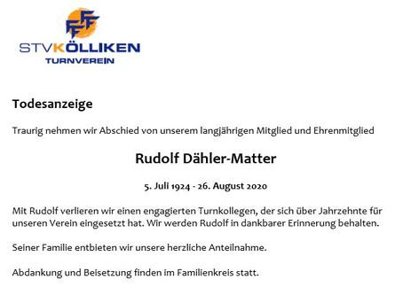 Todesanzeige Rudolf Dähler-Matter