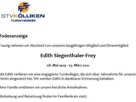 Todesanzeige Edith Siegenthaler