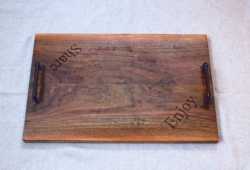 Concave Walnut Face Grain Serving Tray with Lettering