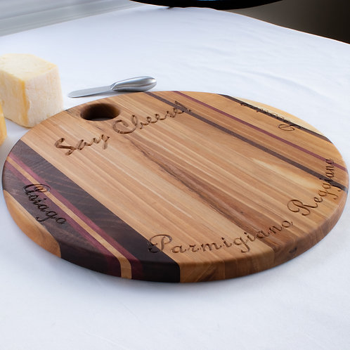 "15"" Solid Wood Cheese Board with Cheese Knife"