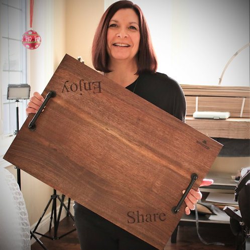 """Concave Walnut Face Grain Serving Tray with Engraving - 24""""x16""""x1"""""""