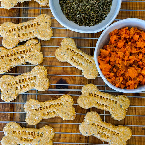 Plant-Based Personalized Dog Treats - Mint Carrot Bones (small letters)