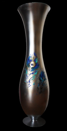 Vase FEATHER OF PEACOCK Technique - acrylic on glass