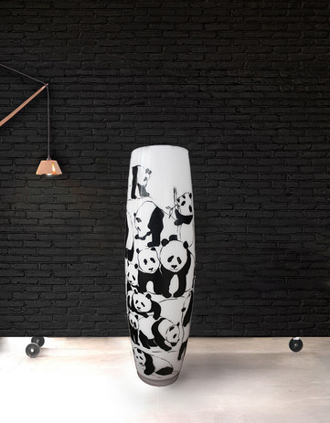 Vase KOALA Technique - acrylic on glass