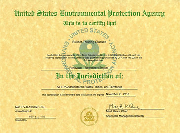 Lead Paint Refresher class approval from EPA