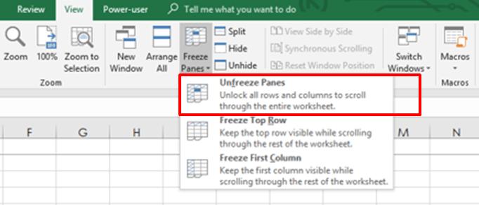 Unfreeze panes in Excel