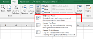 Unfreeze panes in Excel