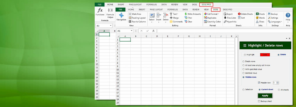 Excel add-in - Dose
